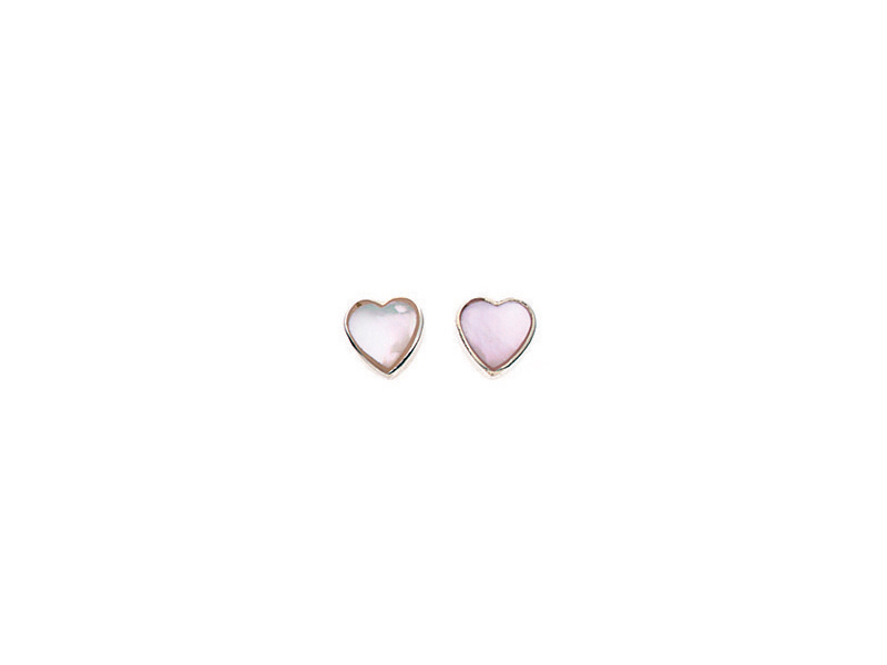 Product standard a778w   fourth avenue   our silver   mother of pearl heart stud earrings    silver