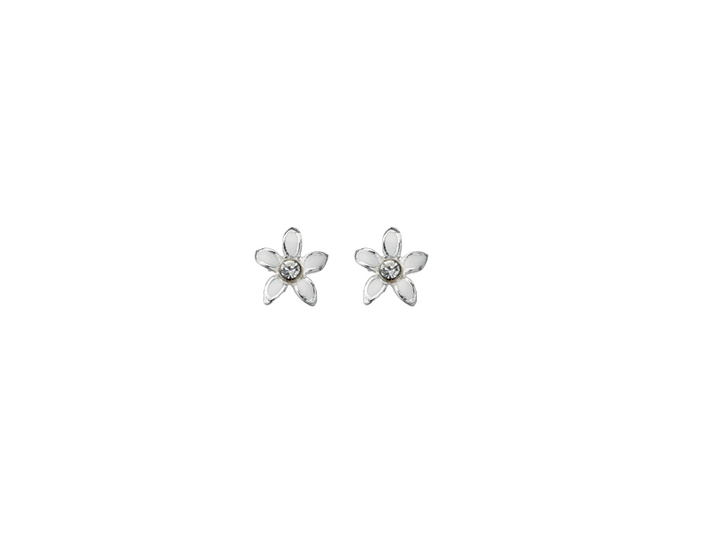 Product standard a909   fourth avenue   our silver   enamel  flower stud earrings    silver