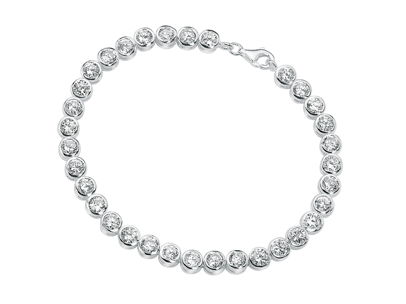 Product standard b2958c   fourth avenue   our silver   cz rub over round tennis bracelets   silver   5055067116381