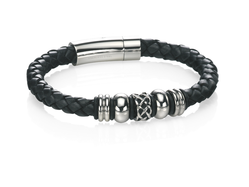 Product standard b4211   fourth avenue   our stainless steel black leather bead bracelets   stainless steel   5055067187220