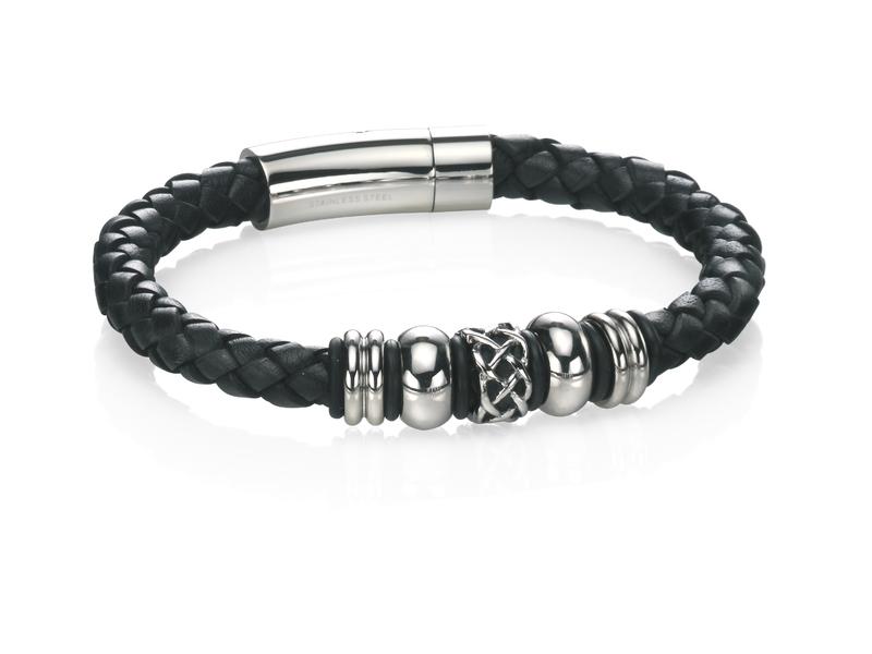 Fourth Avenue Stainless Steel Black Leather Bead Bracelet