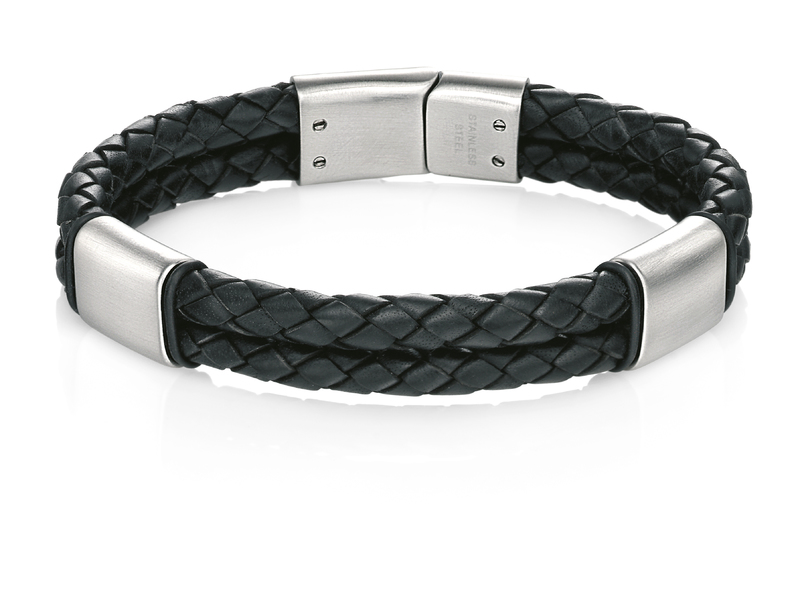 Product standard b4373   fourth avenue   our stainless steel   black  leather double bar bracelets    stainless steel   5055067201469