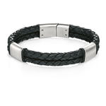 Fourth Avenue Stainless Steel & Black Leather Double Bar Bracelet