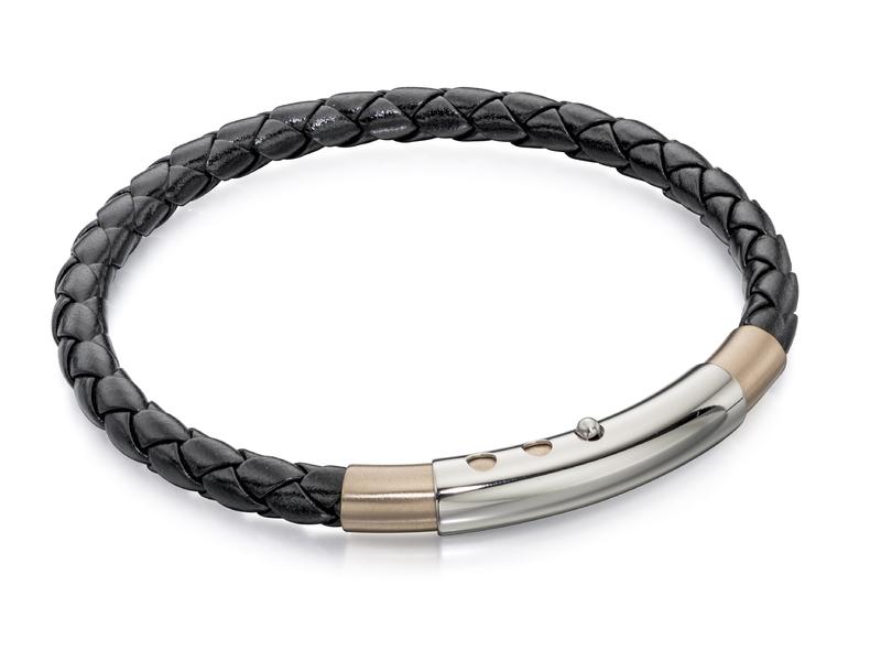 Fourth Avenue Rose Gold Plated Black Leather Bracelet