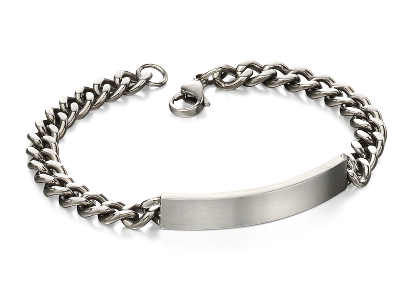 Product standard b4987   fourth avenue   our stainless steel brushed curb id bracelets   stainless steel
