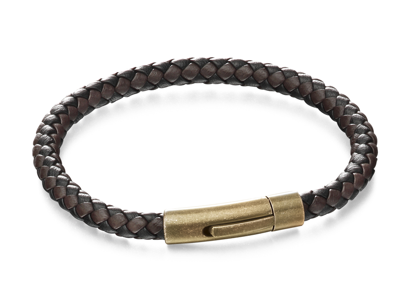 Product standard b5061   fourth avenue   our stainless steel   brown black leather bracelets   stainless steel