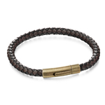 Fourth Avenue Stainless Steel & Brown/ Black Leather Bracelet