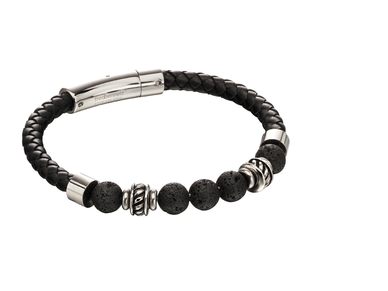 Product standard b5097   fourth avenue   our stainless steel   black leather lava bead bracelets   stainless steel
