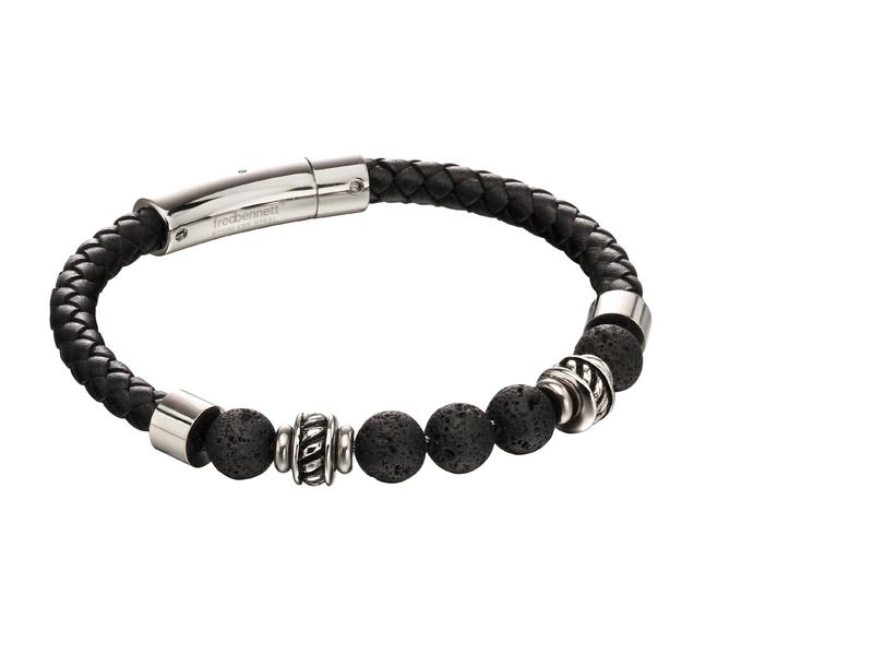 Fourth Avenue Stainless Steel & Black Leather Lava Bead Bracelet