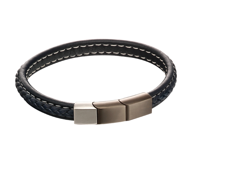 Product standard b5119   fourth avenue   our stainless steel   blue leather plait bracelets   stainless steel