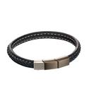 Fourth Avenue Stainless Steel & Blue Leather Plait Bracelet