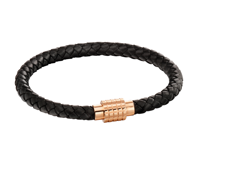 Product standard b5131   fourth avenue   our rose gold plated   black leather bracelets   rose gold