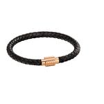 Fourth Avenue Rose Gold Plated & Black Leather Bracelet