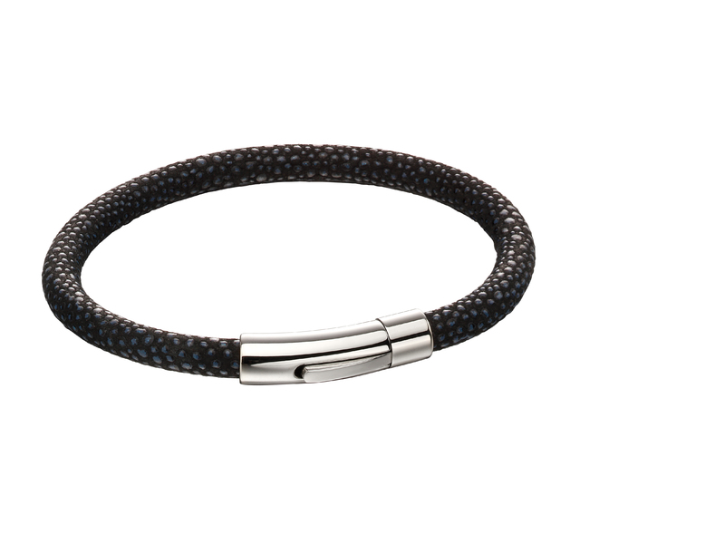 Fourth Avenue Stainless Steel & Black/ Blue Leather Bracelet