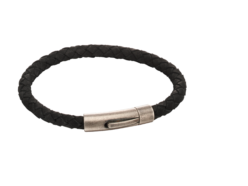 Product standard b5138   fourth avenue   our stainless steel   black suede bracelets    stainless steel