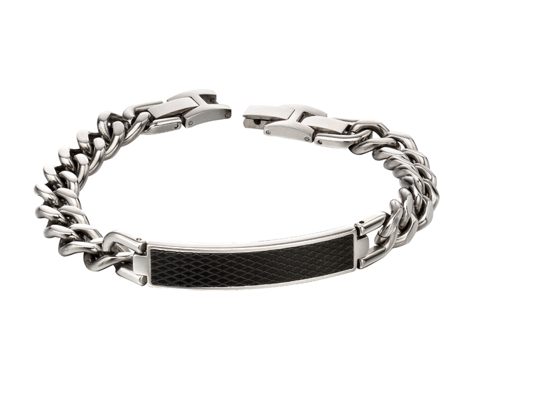 Product standard b5139   fourth avenue   our stainless steel   black text bracelets   stainless steel