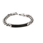 Fourth Avenue Stainless Steel & Black Text Bracelet