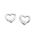 Fourth Avenue Silver Open Heart Stud Earrings