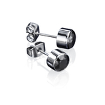 Fourth Avenue Stainless Steel & Black Cz Rub Over Mens Stud Earrings