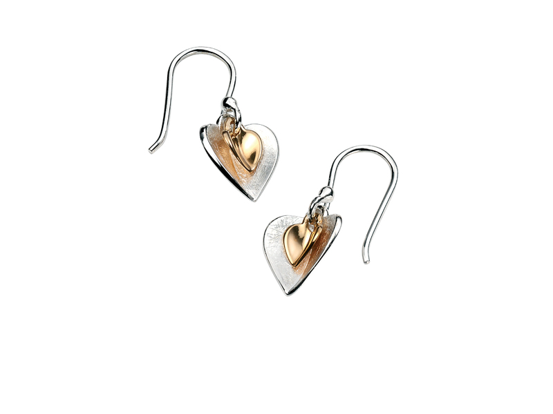 Product standard e4466   fourth avenue   our silver   gold plated double heart drop earrings   silver   5055067167840