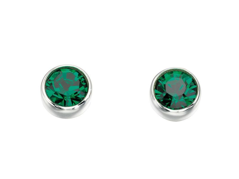 Product standard e4926g   fourth avenue   our silver   green swarovski crystal stud earrings   silver