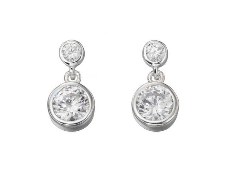 Product standard e5037c   fourth avenue   our silver   cz double rub over drop earrings    silver