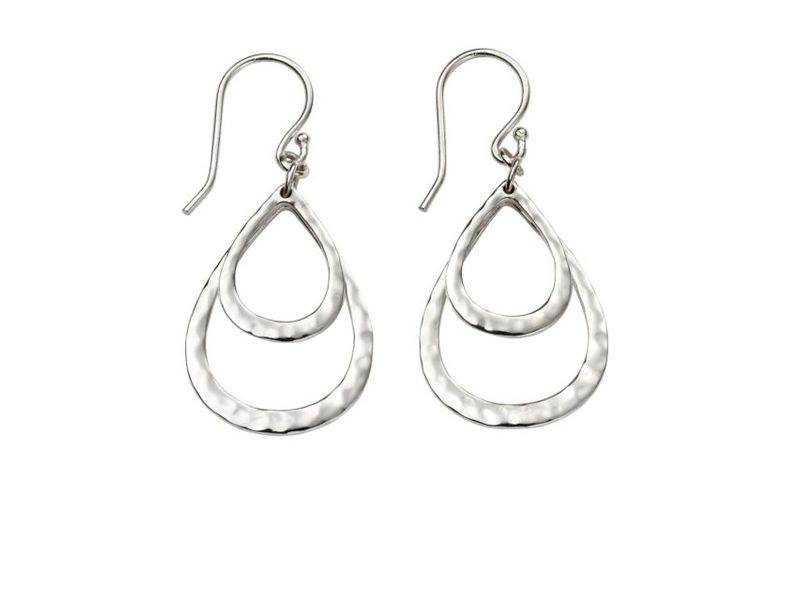 Product standard e5374   fourth avenue   our silver double hammered loop drop earrings   silver