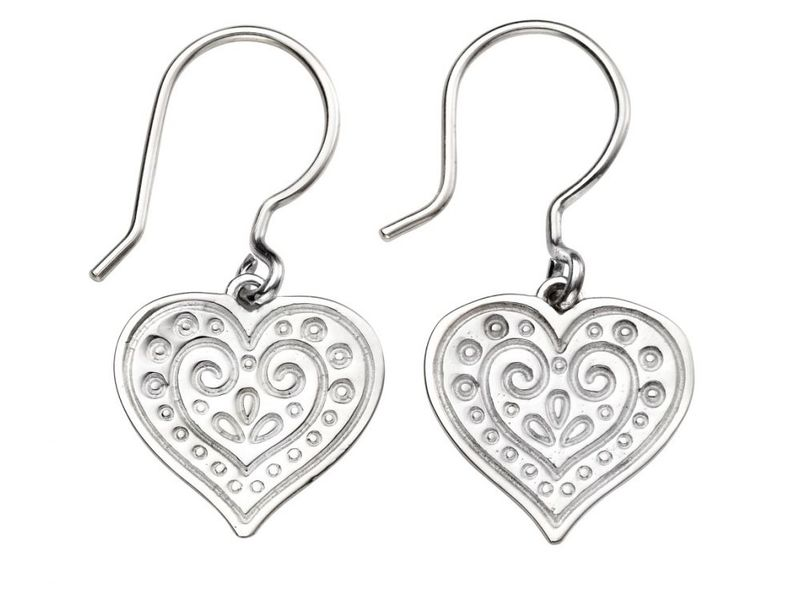 Product standard e5385   fourth avenue   our silver ornate heart drop earrings   silver