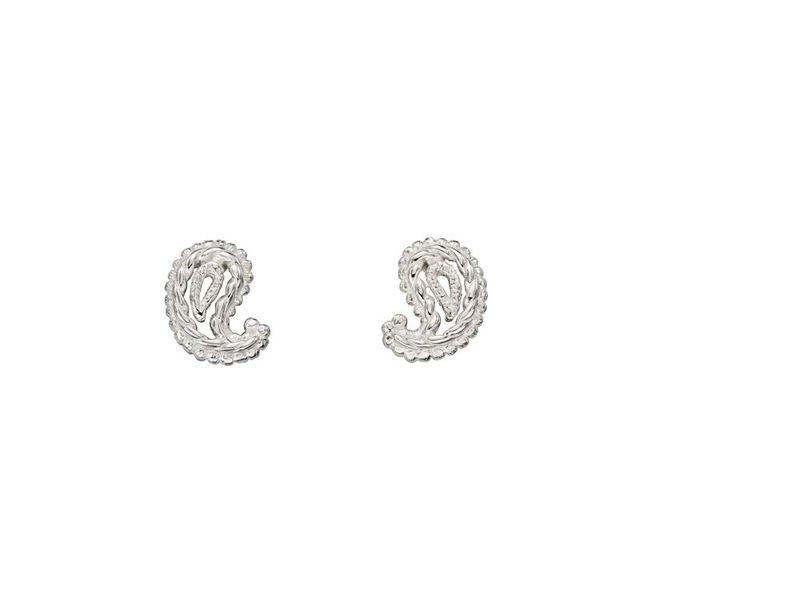Fourth Avenue Silver Paisley Stud Earrings