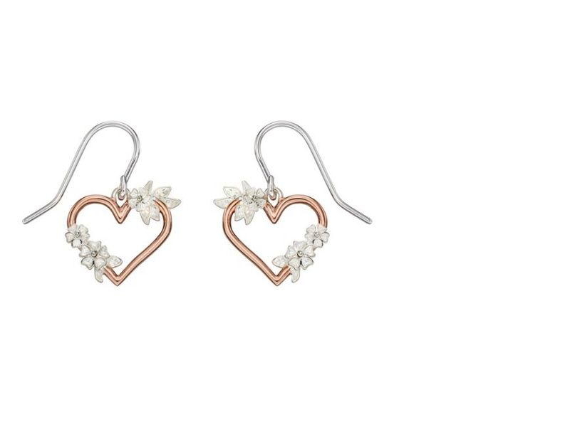 Product standard e5504   fourth avenue   our silver   rose gold plated heart flower drop earrings   rose gold