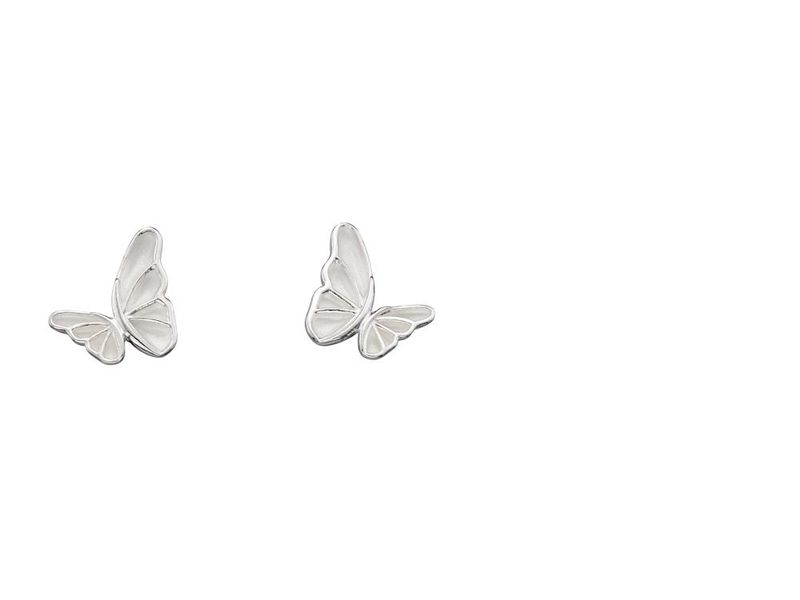 Product standard e5505   fourth avenue   our silver butterfly stud earrings   silver