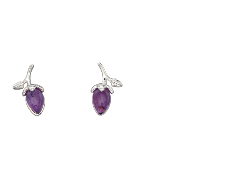 Product standard e5520m   fourth avenue   our silver   amethyst rosebud stud earrings   silver