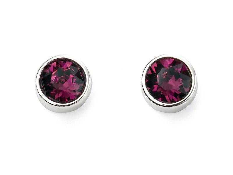Product standard e5560   fourth avenue   our silver   deep pink swarovski crystal stud earrings    silver