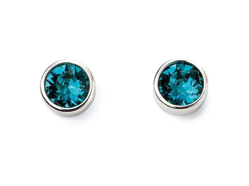 Product standard e5561   fourth avenue   our silver   sea blue swwarovski crystals stud earrings   silver