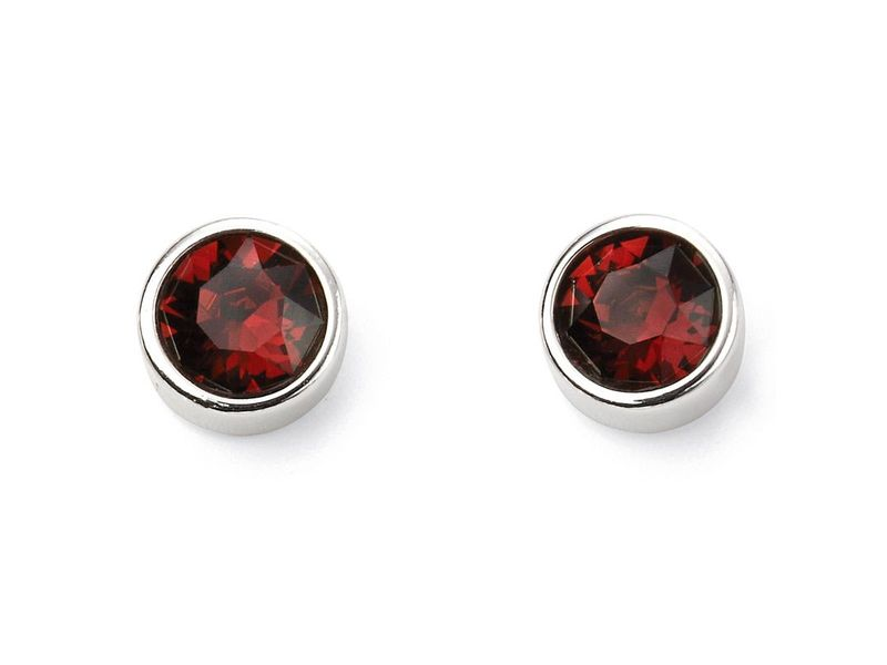 Product standard e5562   fourth avenue   our silver   red swarovski crystal stud earrings   silver
