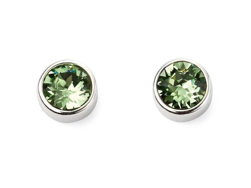 Product standard e5564   fourth avenue   our silver   green swarovski crystal stud earrings   silver