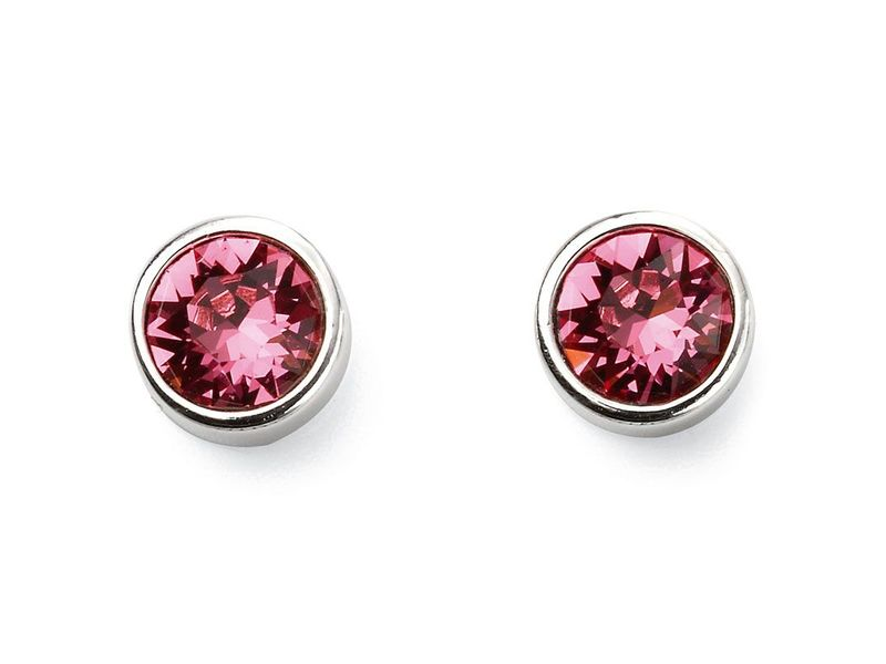 Product standard e5565   fourth avenue   our silver   pink swarovski crystal stud earrings   silver