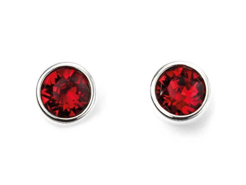 Product standard e5566   fourth avenue   our silver   red swarovski crystal stud earrings   silver