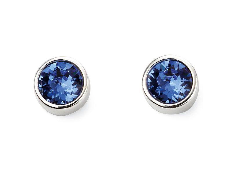 Fourth Avenue Silver & Blue Swarovski Crystal Stud Earrings