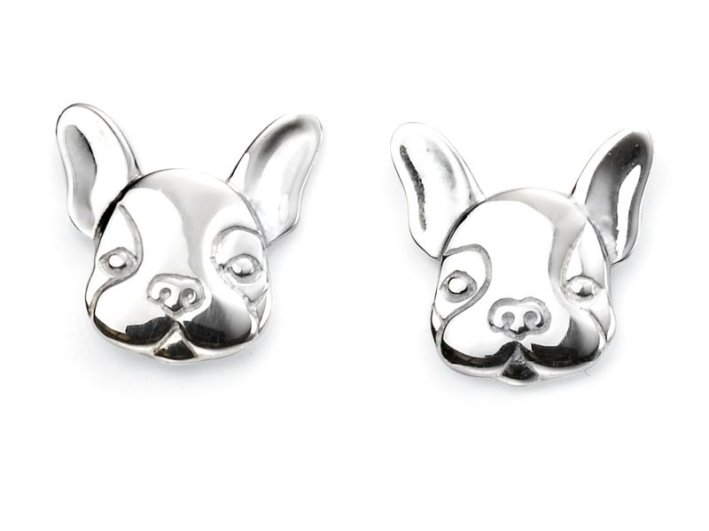 Product standard e5570   fourth avenue   our silver french bulldog stud earrings   silver