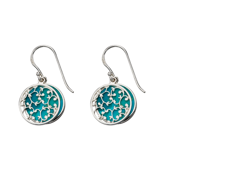 Product standard e5665t   fourth avenue   our silver   turquoise disk drop earrings   silver