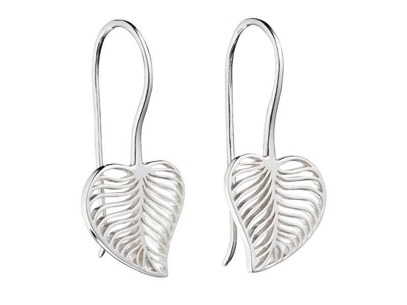 Product standard e5666   fourth avenue   our silver leaf hook drop earrings   silver