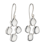 Fourth Avenue Silver White Organic Pebble Drop Earrings