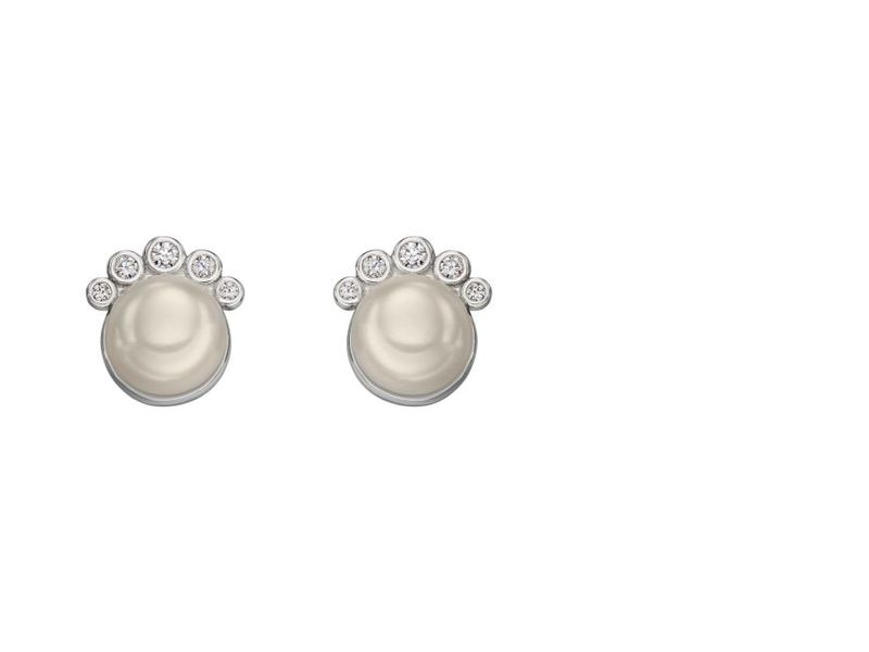 Product standard e5678w   fourth avenue   our silver cz   pearl stud earrings   silver