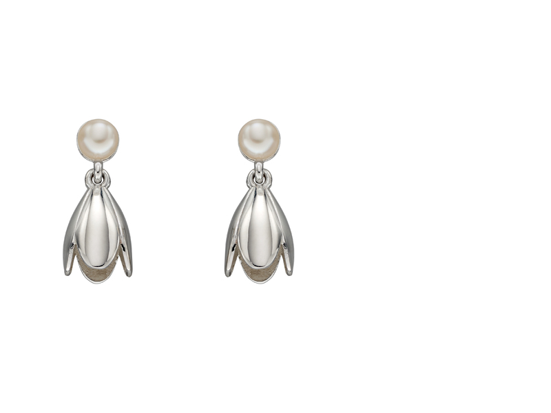 Product standard e5683w   fourth avenue   our silver   pearl tulip drop earrings    silver