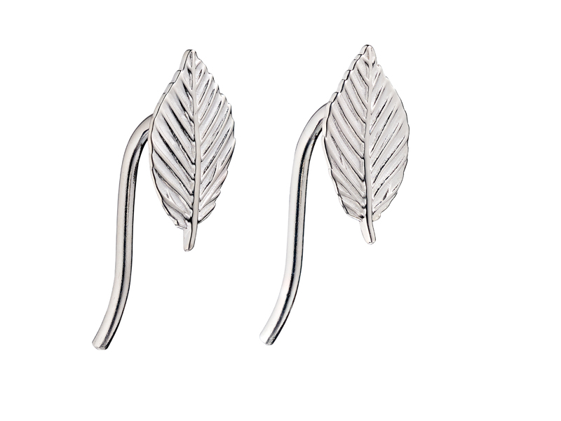 Product standard e5687   fourth avenue   our silver leaf crawler stud earrings   silver