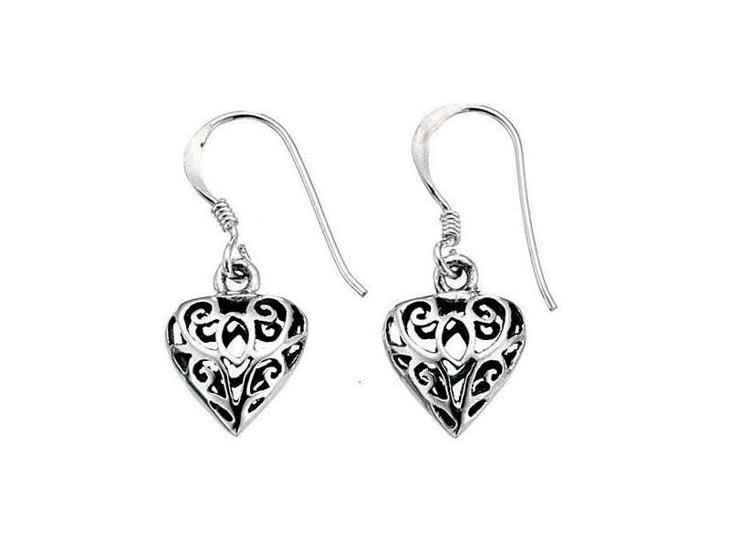 Product standard e726   fourth avenue   our silver filigree heart drop earrings   silver   5055067104913