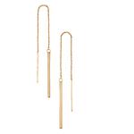 Fourth Avenue Gold Bar Pull Through Drop Earrings