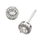 Fourth Avenue White Gold Topaz & Diamond Cluster Stud Earrings