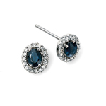 Fourth Avenue White Gold Sapphire & Diamond Cluster Stud Earrings